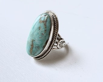 Large Dry Creek Turquoise Ring size 7.5 - Vintage Sterling Silver