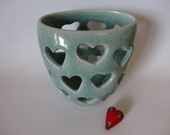 Hearts of Light Blue Celadon Luminary
