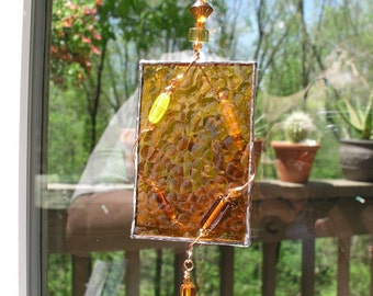 stained glass suncatcher with beads/beaded suncatcher/suncatcher for window/textured glass suncatcher/suncatcher stained glass