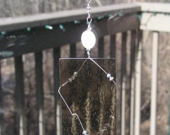 beaded suncatcher/suncatcher with beads/gray stained glass suncatcher/gray crystal and beads suncatcher/window decor/window ornament