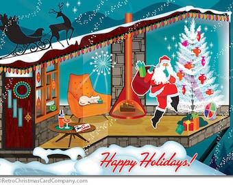 Mid Century Modern Santa Christmas Cards, 8 cards + env.   mid century Christmas cards  Vintage Christmas Cards   Retro Christmas Cards