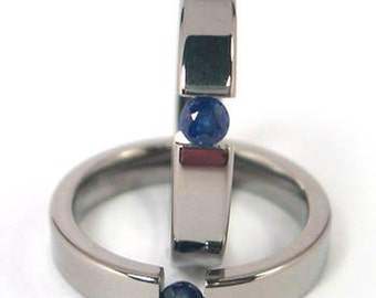 4mm Titanium Tension Set Ring, Sapphire Gemstone, Free Sizing 4.5-11: Z4F-P-Ten-BlueSapphire