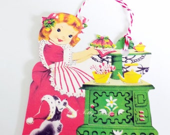 Christmas Girl Tags - Retro Girl Cook - Green Stove Tag - Set Of 3 - Girl And Dog Tags - 1950's Xmas Girl - Retro Baking Tag - Cake N Candy-