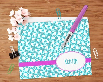 Retro Squares & Dots - Set of 8 CUSTOM Personalized Flat Note Cards/ Stationery