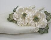 Creamy White Satin Double Flower Applique