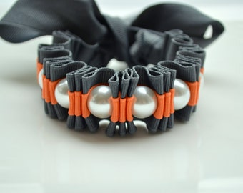 Cuff Bracelet.  Gray and Orange. Oh Twilly Stripe Ribbon Bracelet. Statement Bracelet. Pumpkin. Gift under 25. Statement Pearls.
