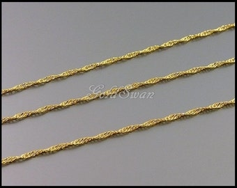 1 Meter shiny gold plated brass sprial helix twist curb chains, metal chain supplies, chains for necklaces, bracelets B083-BG