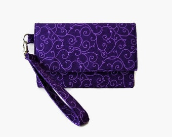 Purple Trifold Wristlet Wallet - Purple Cushioned Cell Phone Wristlet - Smartphone Wallet - Phone Wallet - Purple Clutch - Removable Strap
