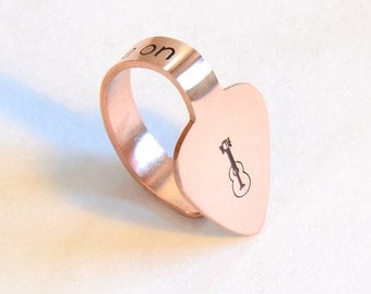 Copper Thumb Pick with You Tune Me On – Thumb and Finger Custom Guitar Picks - TP302