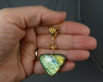 Large Labradorite Necklace, Super Flashy Labradorite Pendant, Glowing Green, Gold, and Blue Flash, AAA Faceted Citrine, Luxurious Gold Chain
