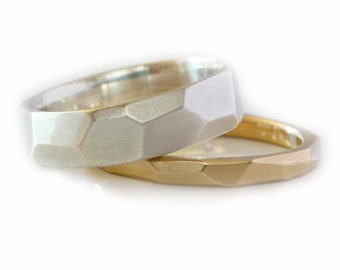 Wedding Bands His and Hers Modern 14kt Yellow Gold White Gold Wedding Bands