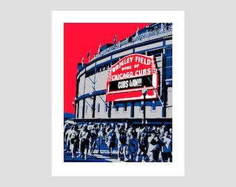 Chicago Cubs Wrigley Baseball Poster Print