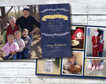 Holiday Photo Card Design - DIY Printable PDF or JPG File - Comes Ready to Print