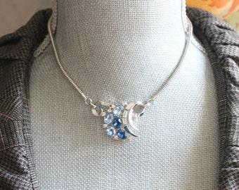 Vintage Trifari Patent Pending Two Tone Blue Rhinestone Silver Necklace