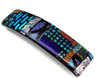 Extra Large Hair Barrette, Dichroic Barrette, French Clip Hair Barrette, Fused Glass Barrette, Multi Colored, Patchwork, Thick Hair