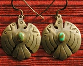 Southwest Stamped Sterling Silver Turquoise Thunderbird Dangle Earrings