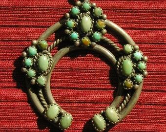 Navajo Sterling Silver Turquoise Sunburst Naja Necklace