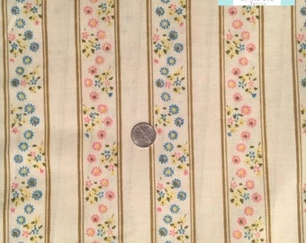 Twin Vintage Flat Sheet with Flowers and stripes