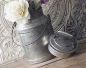 Antique 4 Quart Milk Can w Lid and Handle - Old Farm Milk Bucket Container
