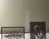 Ballet Art, transparent, clear glass, double sided, framed art, wall art, interior design, art print, wall decor, dance gift, Christmas gift
