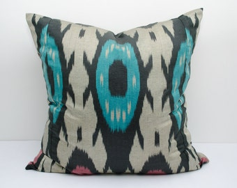 20x20 turquoise beige ikat pillow cover, turquoise pillows, turquoise ikats, turqouse  cushion case, turquoise black beige