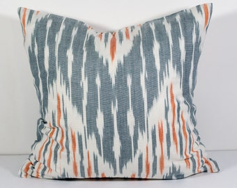 15x15, gray orange ikat pillow covers, ikat pillow, gray, orange cushion, case, cotton pillow cover, decorative pillow, throw pillow, design