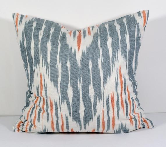 15x15 Throw Pillow Cover : 15x15 gray orange ikat pillow covers ikat pillow gray