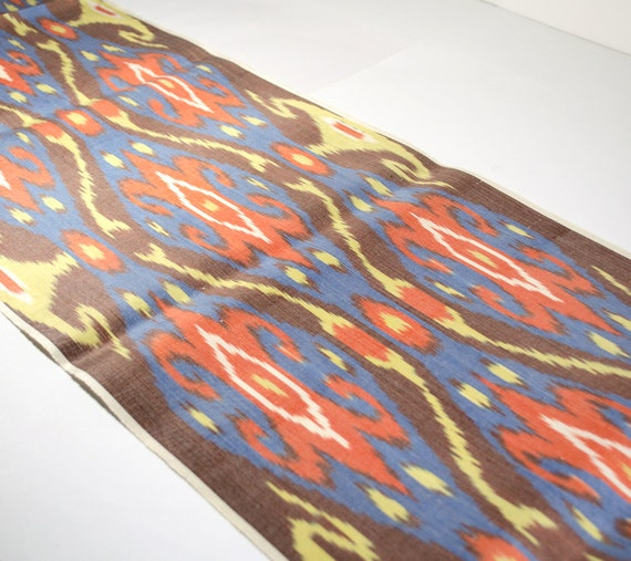 brown orange blue yellow ikat fabric by the yards brown. Black Bedroom Furniture Sets. Home Design Ideas