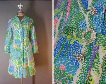 1960s coat 60s Vintage POINTILLISM TREES COAT amazing Seurat inspired novelty print princess mod coat