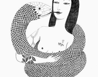 PRINT girl with snake