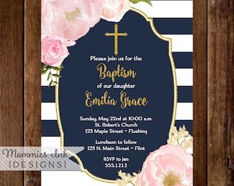 Navy Pink and Gold Baptism Invitation, Dedication Invite, Christening Invite,Watercolor Flower Invitation,Pink Flower Invite, Glitter invite