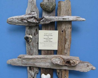 Rustic Driftwood and Heart Stone Wall Frame-DFW14