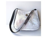 White Shoulder Bag purse with silver sequins fabric  Small Black white tie dye purse button snakeskin handbag CarolJoyFashions77 RTS