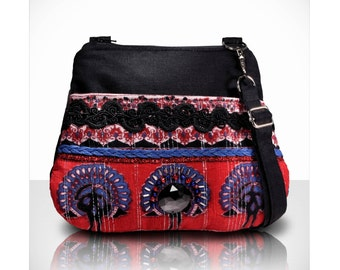 Boho purse bag / beaded / black red blue / Small crossbody /cotton peacock fabric / hippy / summer / zipper/ custom purse /Item # CJF01-1011