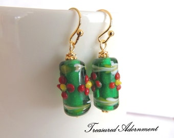 READY TO SHIP, Holiday Earrings, Red flower Green Lampwork beads earrings, Christmas earrings, Stocking stuffer, Thank you gift, Cylinder