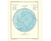 1955 APRIL or MARCH original vintage month star map celestial astronomy print