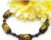CIJ SALE RESERVED for Sue Amber Garden Lampwork Bracelet - Tan Glass Bracelet - Brass Bracelet - Vintage Style Bracelet - Handmade Bracelet