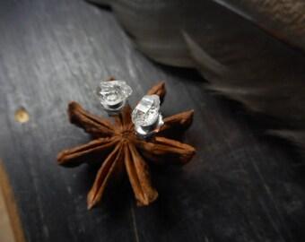 PETiTe Diamond MiNes. Herkimer Diamonds and Titanium post stud earrings.  Organic Handmade by Chymiera