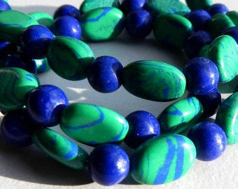 Necklace of Green and Blue Swirl Glass Beads and Blue Jade Beads With Lobster Clasp Closure