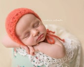 CORAL Alpaca and Silk Knit Bonnet Hat Newborn Baby Girl Photography Photo Prop