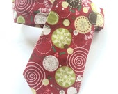 Little Guy Holiday NECKTIE Tie - Burgundy Circle Snowflakes - (Newborn - 12 months) - Boy Toddler - (Ready to Ship) Christmas