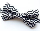 Big Guy BOW TIE - Black Gold and Silver Holiday Collection - Black and White Chevron (Teen Adult) - (Ready to Ship) Christmas