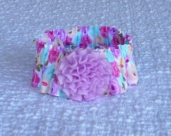 "Roses on White Dog Scrunchie Collar with chiffon rosette - Size M: 14"" to 16"" neck"