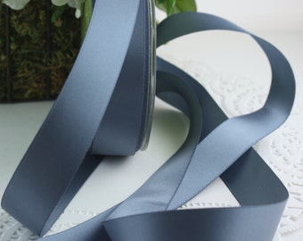 """Dusty Blue Ribbon, Pantone Serenity Blue Double Faced Satin, 7/8"""" (2.22 cm) wide, Weddings, Sewing, Bouquets, Gift Wrapping, Bridal Sashes"""