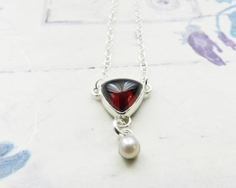 """Simple Garnet Necklace, White Pearl Drop Dangle, Victorian Style, Triangle Red Stone, 17"""" Sterling Chain, Delicate Feminine Y Necklace"""