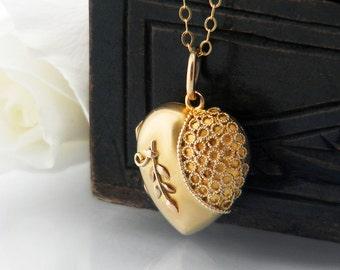 Antique Locket | Solid 9ct Gold Victorian Locket | .375 Hallmarked English Gold | 1900 Gold Heart Wedding Locket Necklace - 20 Inch Chain