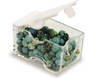 Bead Storage, Small Plastic Box, Easy Open Bead Box, Finding Box, Craft Tidy, Bead Container, Bead Tidy, Jewelry Kit Box, package of 5