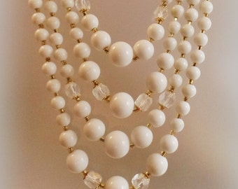 Vintage Wedding White Glass Beaded Necklace. Japan. Four Strand Milk Glass and Austrian Crystal Bead Necklace.