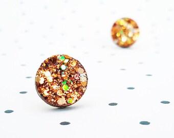 Tiny copper glitter dots stud earrings