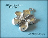 Use TAKE10 for 10% off! 2 pieces Bali Sterling Silver Plumeria Flower Charms, 18mm x 15mm, BRIGHT, bridal jewelry